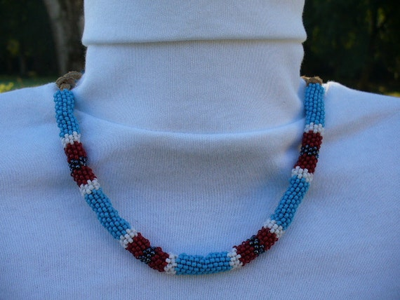 Native American Turquoise Beaded Choker on Leather Cord
