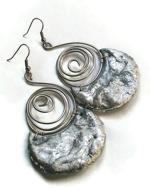 Silver wire wrapped half moon swirl chandelier earrings ethnic silver style reserved for Sonia etsyitaliateam