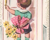 Vintage Get Well Soon Greeting Card with Little Boy and Bouquet of Daisys UNUSED 1950s