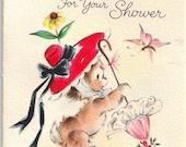MiniVintage Hallmark Wedding Baby Shower Greeting Card with Teddy Bear Holding Umbrella