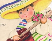 Vintage Birthday Greeting Card for Nephew with Puppy and Little Boy in Sombrero UNUSED 1940s