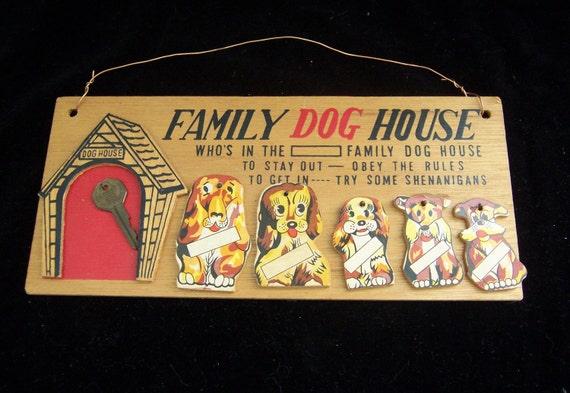 Family Dog House Key Holder Wall Hanging