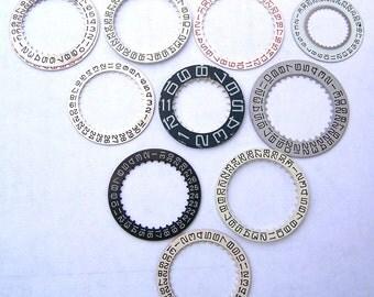 Steampunk Watch Parts - 10 VINTAGE watch date wheels