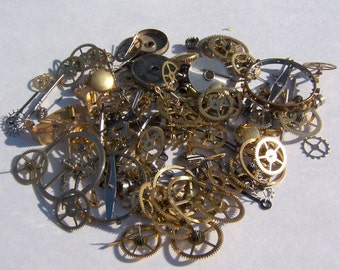 Steampunk Watch Pieces and Parts - 150 plus pieces of VINTAGE gears, wheels, hands, crowns, stems, etc.