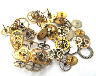 Steampunk Watch Pieces and Parts - 50 small vintage mixed watch gears Cogs Wheels