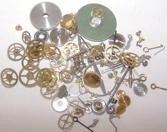 Steampunk Watch Pieces and Parts - 75 plus pieces of VINTAGE watch gears, cogs, wheels, hands, crowns, stems, etc.