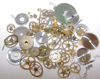 Steampunk Watch Pieces and Parts - 100 plus pieces of VINTAGE watch gears, wheels, hands, crowns, stems, etc.