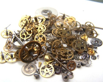 Steampunk Watch Pieces and Parts - 150 plus pieces of VINTAGE gears, cogs, wheels, hands, crowns, stems, etc.