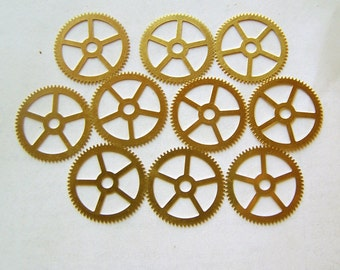 Steampunk Watch Parts - 10 Large gears, STAMPED brass gears 25mm Clock gears, parts, steampunk supplies, Steampunk Gears, Assemblage art