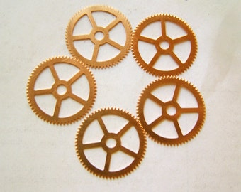 Steampunk Watch pieces and parts Clock gears - 5 Large copper Gears Cogs Wheels 25mm