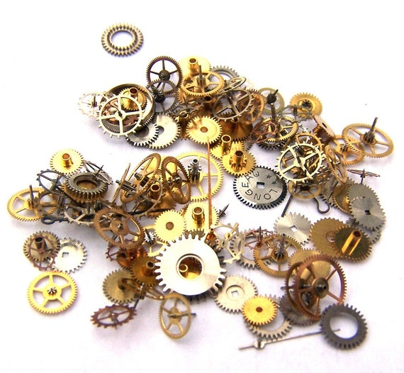 Steampunk Watch Pieces and Parts - 100 small vintage mixed watch gears Cogs Wheels