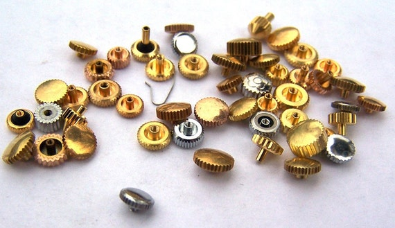 Steampunk Watch Parts and pieces - 50 Vintage Mixed Metal Watch Crowns