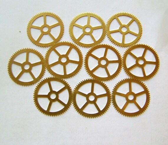 Steampunk Watch Parts - 10 Large gears, STAMPED brass gears 25mm Clock gears, parts, steampunk supplies, Steampunk Gears, Assemblage art