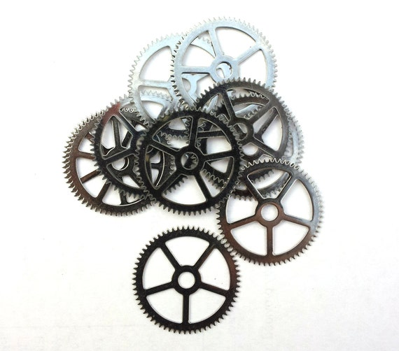 Steampunk Watch pieces and parts Clock gears - 5 Large silver steel Gears Cogs Wheels 25mm