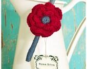 Red / Blue Crochet Flower Headband