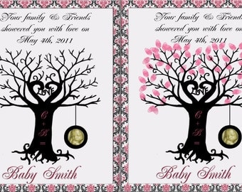Baby Shower- Finger Print Tree with Tire Swing Guest Book- print yourself edition
