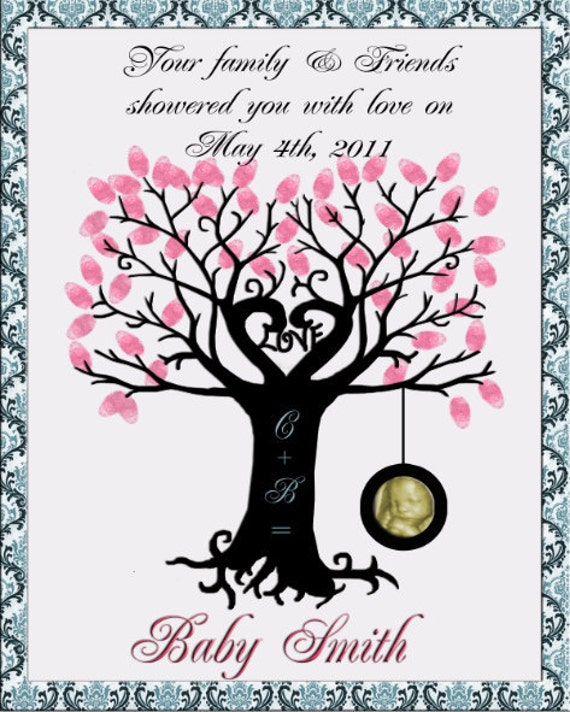 baby shower thumb print tree with tire swing guest book print