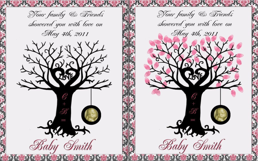 baby shower finger print tree with tire swing guest book