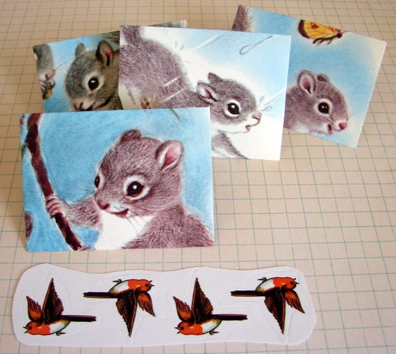 "Pretty Handmade Mini Stationery Set, ""Squirrel Chatter"""