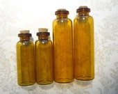Set of 4 Amber Mini Glass Vintage Apothecary Bottles with Cork Stoppers in Two Sizes by 7 Gypsies