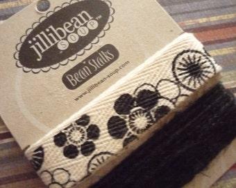 Set of 2 - Ribbon & Twine - 1 Yard Black Flowered Twill and 3 Yards Black Twine Trim