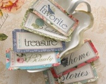 Country Estate Fabric Tags - Word Labels - Text Trim - Beauty Treasure Traditions Favorite Home Stories Images of Birds Nests Flowers Roses
