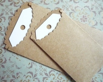 Attic Treasures Vintage Style Scalloped Edge Mini Paper Bags with Blank Tags 2 Sizes by Melissa Frances - Qty 6