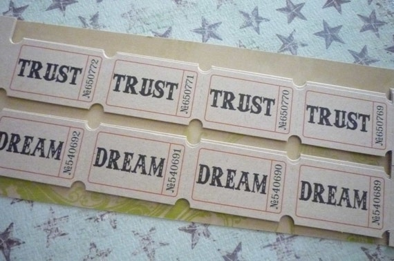 Set of 96 Adage Tickets Vintage Admittance Stubs w Words by Tim Holtz - Hope Wish Dream Trust Love Soar Giggle Story Play Live Bliss & Adore