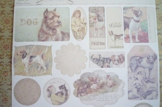 Dog Gone Cute Attic Treasures Ephemera Shabby Chic Vintage Label Stickers Set of  22 Pieces by Melissa Frances