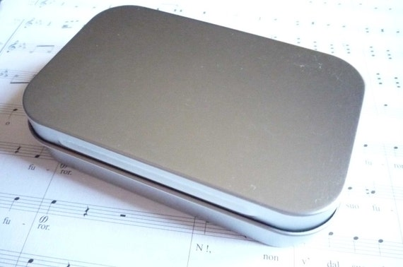 Medium Hinged Lid Tin Metal Can Container Box Qty 2