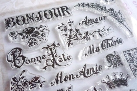 NEW: French Bonjour Merci Text Clear Art Stamps with Words Amour, Mon Amie, Ma Cherie  - Clear Rubber Stamps 26 Pcs