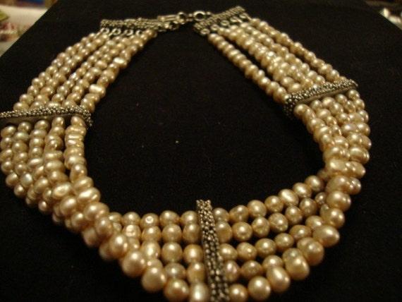 Pearl Choker - 5 strand pearl choker...Pretty in Pearls....