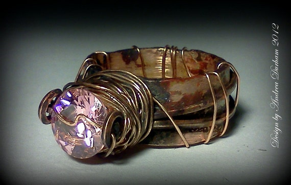 Copper Rings, Copper Ring, OOAK , Fairy Ring, Industrial Chic, with Pink CZ , Wire wrapped Copper ring, Fantasy Inspired Ring