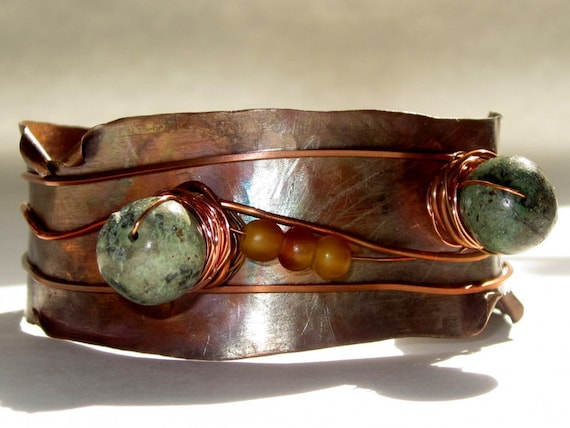 Tribal Cuff Copper Bracelet with Diorite - Wire Wrapped