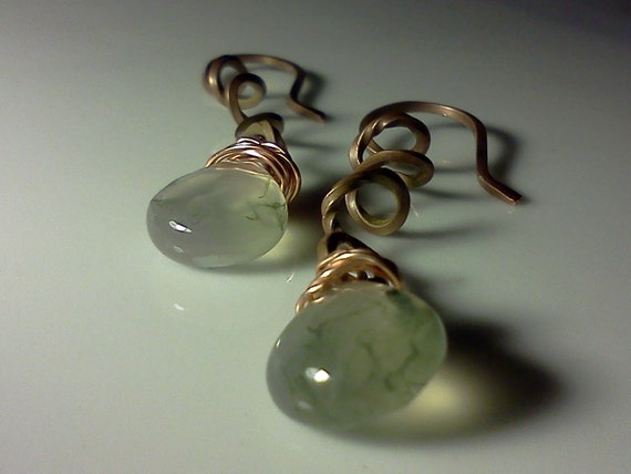 Copper Earrings, Twisted wrapped wire earrings with Green Semi precious Briolettes