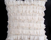 """Shabby Ruffled Pillow Case - 14"""" x 14"""" - Rustic French Style - Removable Lightweight Cotton with Handmade Ruffles"""