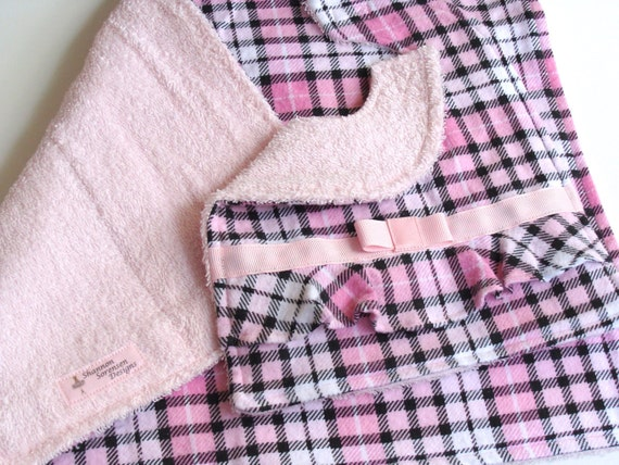 Baby Girl Bib and Burp Cloth Set - Pink White Black Plaid w/ Pink Bow and Dainty Ruffle - Absorbent Flannel and Terrycloth