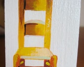 Mini Yellow Chair Painting on Wood