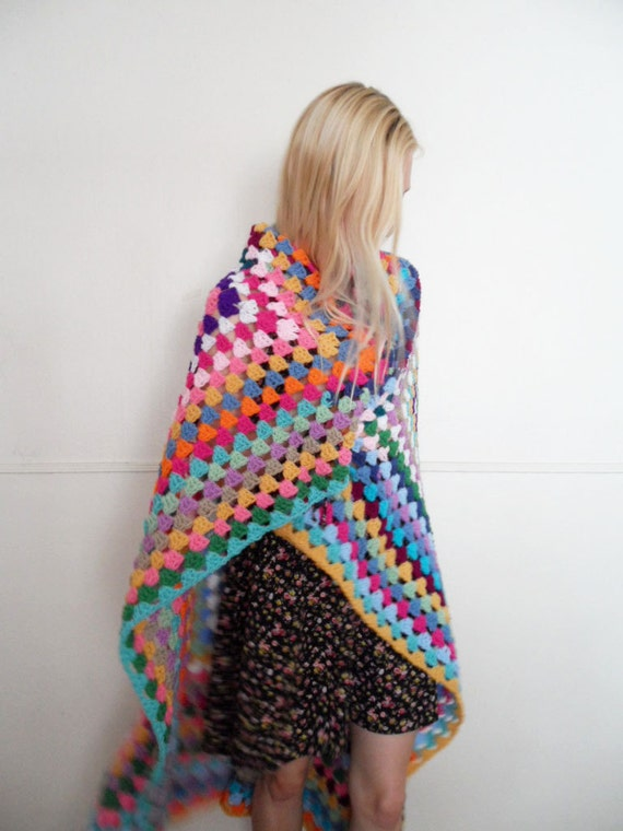 One of a Kind Color Crochet Granny Square Full Afghan Blanket