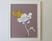 "Bird Painting Art Print- Bird  in bloom- Modern Urban Chic bird flower wall decor painting PRINT 8""x10"""