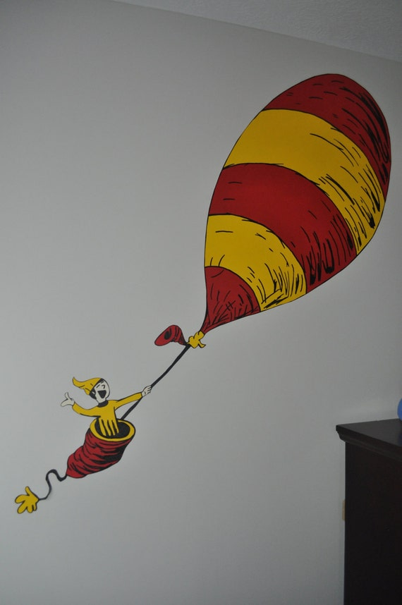 Items similar to dr seuss inspired oh the places you 39 ll for Dr seuss wall mural
