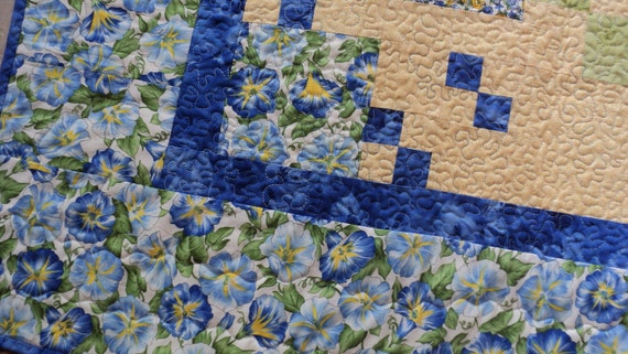 SALE. 35% OFF.  SALE.  Cozy Throw Blanket Floral Inspired Blue and Yellow Lap Quilt Morning Glory