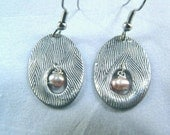 Fresh water pearl, silver, oval, antique style, dangle earrings with  black patina