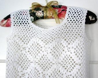 Vintage white lace crocheted mini dress, boho lace dress,  hand crocheted wedding dress