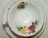 Royal Grafton Red Yellow Roses Fine Bone China Vintage Cup Saucer Made in England