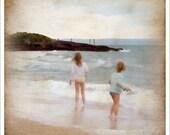 4x4 - ocean wall art - nostalgic art print - seaside vacation - kids jumping waves - Faded Childhood - fine art photograph