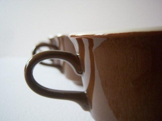Vintage Mod Mocha Brown Coffee Mugs