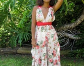 It's coming up Red Roses Halter Summer Dress