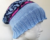 Hand Knit Hat Fair Isle Technique With Merino Wool, Alpaca, and Silk Slouchy Style