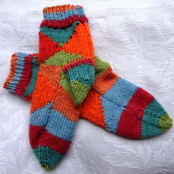 Hand Knit Children Socks in Multicolor with Super Wash Merino Wool and Nylon Yarn Very Colorful